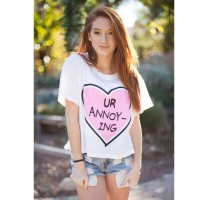 Hot sales purple heart-shaped digital prints half loose, casual short-sleeved T-shirt T-shirt style fast sales