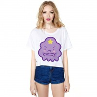 Hot sales purple clouds cute digital prints half short-sleeved T-shirt, Ms. fast delivery