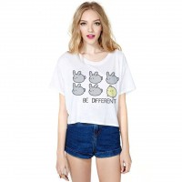 Ms. loose casual cartoon printed short-sleeved T-shirt round neck T-shirt all match half fast delivery fast sales