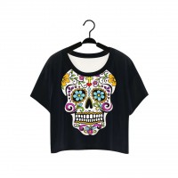 The European market, the US market trends and new style hot selling 3D digital prints flower skull half-section T-shirt promotion