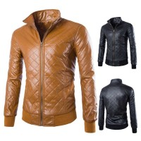 Low price selling fashion style plaid short jacket Slim Men solid color stand collar short style leather easy to get off