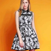 European market and the US market high-end A-shaped skirt dress summer new style lapel printing perspective sleeveless vest skirt lady