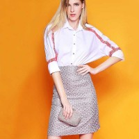 European stations Ms. autumn new style ladies solid color small lapel stitching clothes long style shirt