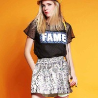 Europe station new spring and summer round neck short sleeve style letters printed pattern yarn t-shirt dress suit