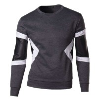 Lower selling prices of new models men's small leather sleeves inserted sweater t-shirt fashion personality popular youth