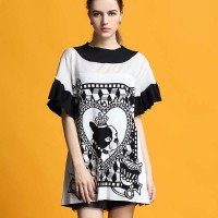Autumn new models in Europe and the US market, Ms. cartoon prints irregular edges loose short-sleeved knit dress