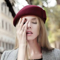 Ms. autumn and winter new style cap wool beret stewardess cap material red hat lady hat