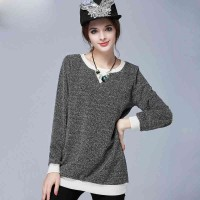 European market and the US market large size women's Autumn new models round neck long-sleeved loose simple increase overweight ladies knit shirt