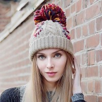 Knitted hat autumn and winter outdoor warm thick pile wool hat winter ski hat warm hat cap