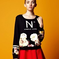 European market and the US market lower prices of the original single ladies flower prints round neck long-sleeved loose Ms. minimalist style sweater autumn