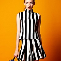 European stations autumn new fashion style striped vest jacket stitching big swing skirt suit two-piece group