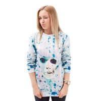 The new digital printing style rock style sweater spoof Skull head pattern 3D simple round neck sweater pattern sweater Star
