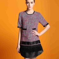 European stations autumn new high-end brand Ms. fashion style printing irregular loose short-sleeved dress waist