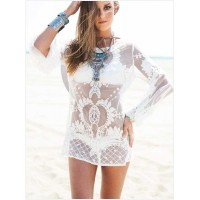 Popular new fashion style white long-sleeved round neck empty thread sexy printed beach sun dress 41197