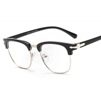 8117 new style plain mirror all-metal framed glasses frame plain glass spectacles frame myopia students