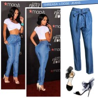 The new style waist elastic waist belt tied XL loose, casual wide leg jeans of thin strap trousers