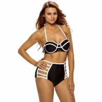 The new style of black and white stitching waist low-cut strapless bikini with a chest pad steel prop split swimwear 41322