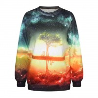 Fashion Star pattern sweater loose slim sunset tree digital printing 3D models sweater new sweater