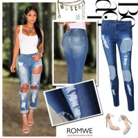 The new style hot sales in Europe and the US market nine points Slim stretch pencil pants Ms. big Jeans