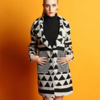Ms. autumn and winter coat jacket new models in Europe and the United States market trend mosaic geometric patterns printed long style wool material