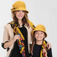 Popular autumn and winter hat ladies wool hat and her daughter paternity materials basin-type cap dome hat