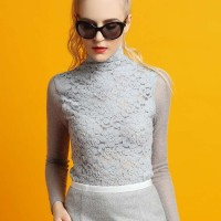 Ladies European station new autumn and winter fashion style stitching Slim Slim lace long-sleeved turtleneck shirt discount