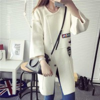 New style white large lapel casual long style knit cardigan sweater coat 27596
