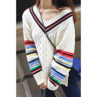 New style white stripe V-collar long-sleeved knit jacket scalp Ms. sub jumper knit leisure 27598