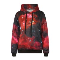 Hot Sales in Europe and the US market digital printing red stars pattern sweater all match hooded sweater big yards Ms.