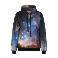 Hot selling autumn and winter new style trends Star pattern sweater quality digital printing simple hooded sweater Ms.