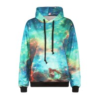 Low price good quality digital printing new autumn and winter styles Green Star pattern hooded sweater Ms. simple European market and the US market promotion
