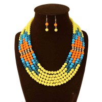 European market and the US market exaggerated retro multi-colored beads long necklace Ms. clavicle chain African bride color decoration 5