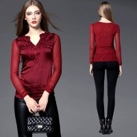 Europe station fine European market and the US market fall and winter new models of gas-shirt large size women elegant fast delivery