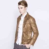 Low price selling in Europe and the United States market of imitation snakeskin style Slim Men motorcycle leather jacket