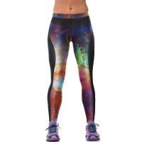 Hot sales of digital printing 3D red and green stars pattern elastic fitness yoga pants dance pants tight