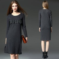 European stations fall and winter knit sweater bottomdress tassel dress casual large size fast delivery