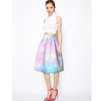 Low prices in Europe and the US market fresh fashion elegant ladies print big skirt high waist skirts sheds