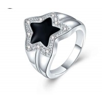 Hot sales silver jewelry rings fashion creative pentagram diamonds ring discounted low price jewelry