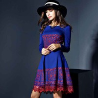 High-end European leg embroidered dress Europe and the United States market, a word long-sleeved round neck dress fashion style skirt stitching discounts