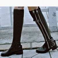 Promotions Fall Winter new models double zipper ladies fashion leather boots to help low flat slim long over knee boots Knight