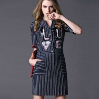 European stations spring new models in Europe and the US market letters prints ladies casual elastic waist step skirt dress Ms.