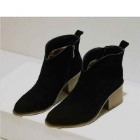 Popular fashion pointed boots in Miss Gao Gen new style V-shaped mouth all matching leather boots naked boots discount
