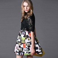 The new European leg fashion style ladies printed round neck casual A-shaped skirt spring dress fast delivery