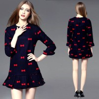 Europe station new autumn and winter bow embroidery round neck long-sleeved floral dress women fishtail skirt
