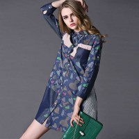 Ms. spring new European stations lapel single-breasted style cotton long-sleeved loose waist skirt dress irregular