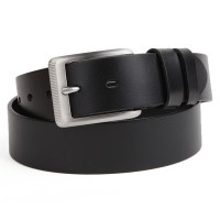Pure Steel Men's leather belt first layer of top Italian material without flaws flat steel business belt buckle belt