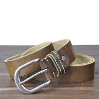 Popular men's belt leather belt handmade vintage washing belt belts new style low price discount