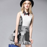 Europe station new spring and summer fashion simple style printing lapel sleeveless A-shaped skirt dress skirt Women