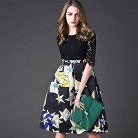 Spring new models in Europe and the US market Women Tee stamp put on a large mosaic popular A-shaped skirt dress discount