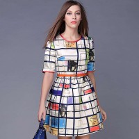 Spring and summer in Europe and the US market fashion colorful plaid jacquard belt with gold flocking personality A-shaped dress shape clear